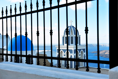 Blue and white bell tower of the Greek Christian church.