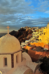 Sun setting over Fira.