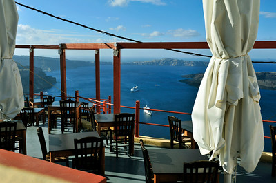 View from a cliffside bar in Thira.