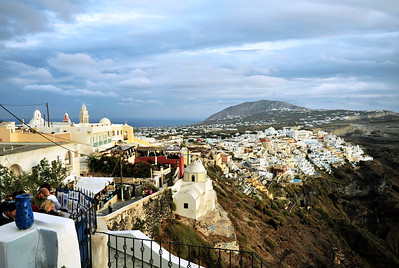 The town of Fira devastated by an earthquake in in 1956, has been rebuilt, terraced into the volcanic cliffs.