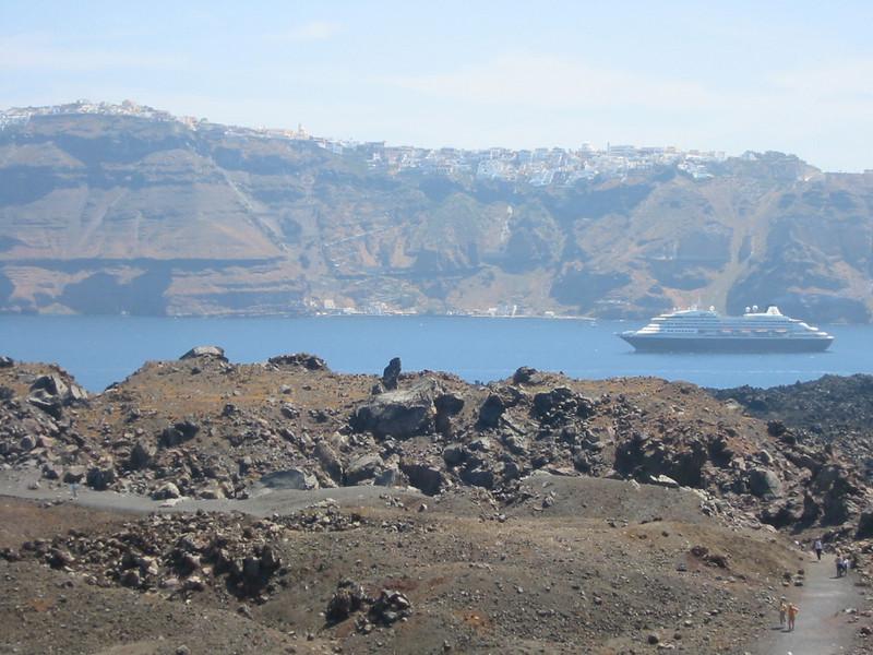 View of Imerovigli village from Nea  Kameni