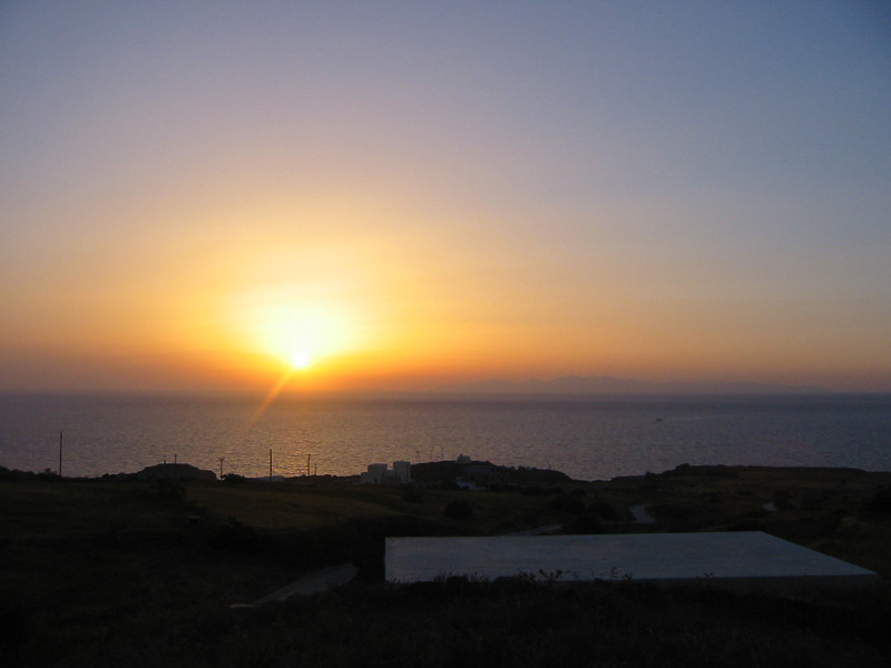 Santorini sunset.  Santorini boasts of some of the best sunsets ever: thanks to the dry mediterranean climate!