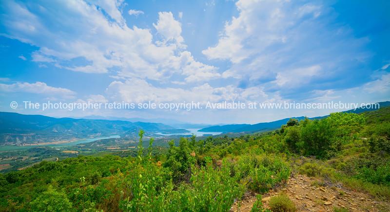 mediterranean landscape from hills in Peloponnese Peninsula
