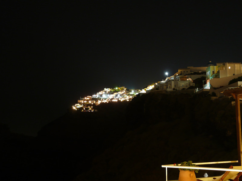 Caldera hotels at night