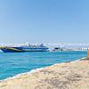 Large Greek Island ferry in Naxos port