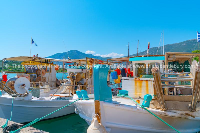 Ermioni waterfront moored fishing boats