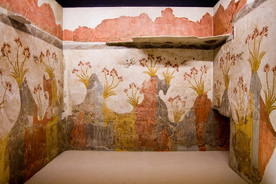 Spring fresco from Akrotiri, Thera aka Santorini found in situ (2nd millennium BC) National Archaeological Museum Athens, Greece