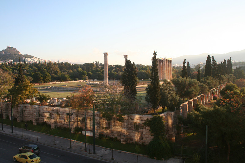 View of the Temple of Zeus from our hotel.