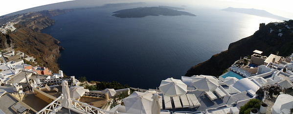 At top of the world in Oia, Santorini, Greece