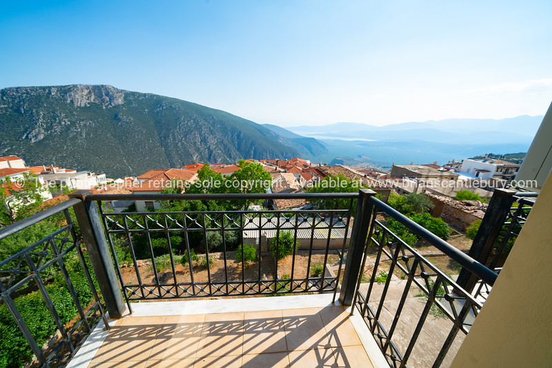 View from famous town of Delphi down to coast