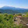 Mediterranean village in mountain landscape  Peloponnese Peninsula