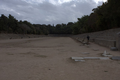 Ancient stadium used by athletes and built in 2nd century AD.  Still in use today for this casual jogger.