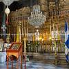 Decorative interior of beautiful Greek Orthodox church.