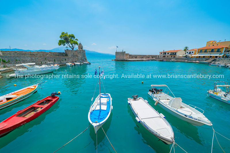 Picturesque fortified port of Nafpaktos Greece.