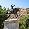 Sculpture of old man of Motia on horseback by sculptor Lazaros Sochos,