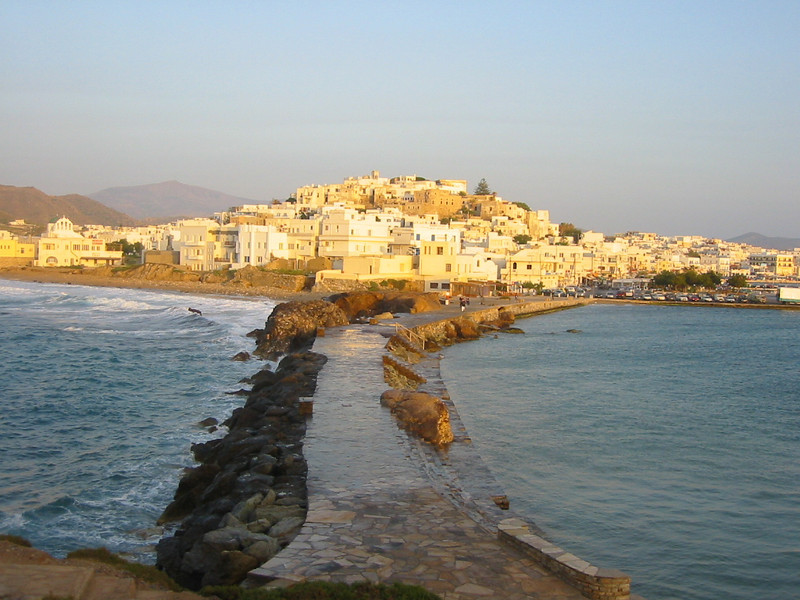 The village of Hora <br /> (capital of Naxos) as viewed from the temple of Appollo.