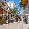 Greek village of Nafplio street scene.