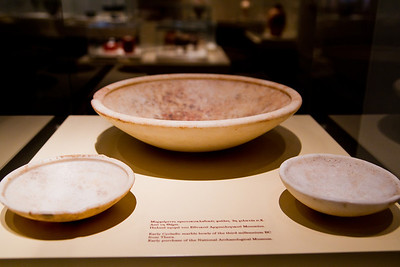 Early Cycladic marble bowls from Thera aka Santorini (third millennium BC) National Archaeological Museum Athens, Greece
