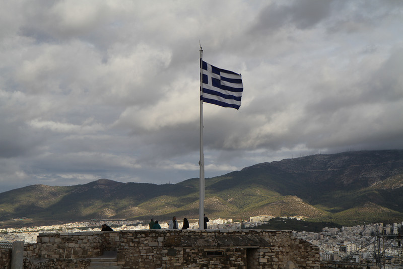 The flag of Greece at the Acropolis