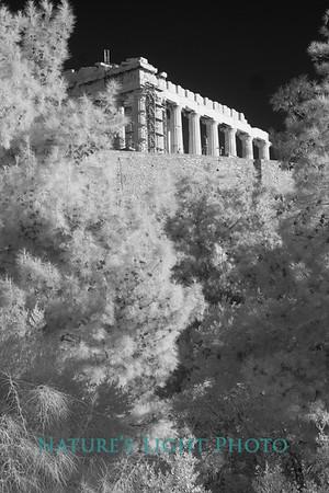 Parthenon and Wall, Acropolis, Athens (B&W)-6140