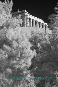 Parthenon and Wall, Acropolis, Athens (B&W)-6140