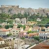 Athens acropolis overlooks buildings of Plaka district