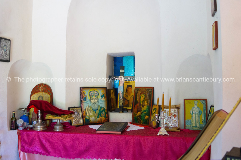Interior decoration,imagery and icon in small Greek Orthodox Church