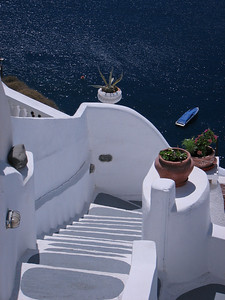 White Steps in Santorini