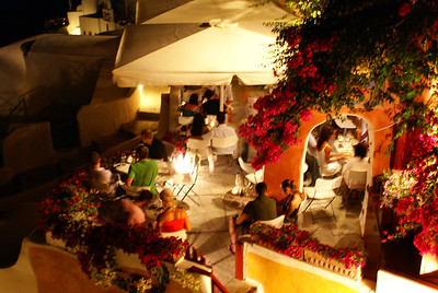 Dinner at night, Oia, Santorini, Greece
