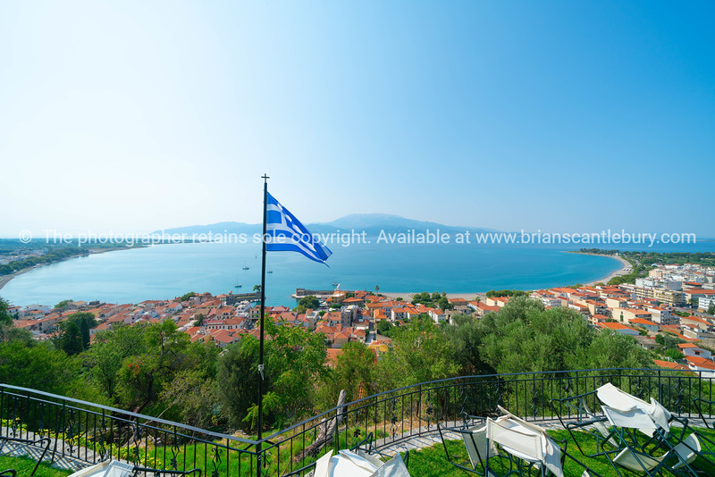 Bay of Patros in Gulf of Corinth and Old Harbor of Nafpaktos below from hill behind town