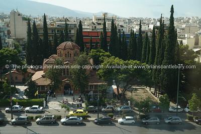 Church in urban Athens, Greece.