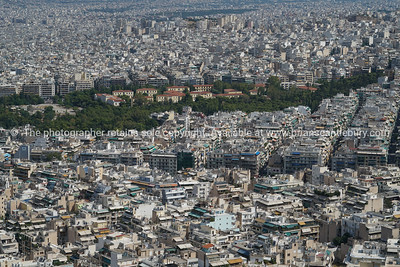 Urban Athens view from top Mount Lycabettus