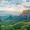 Geology and huge rocks of Meteora at sunset.