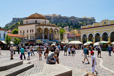 View of Tzami (Mosque) and the Acropolis Monastiraki Square Athens, Greece