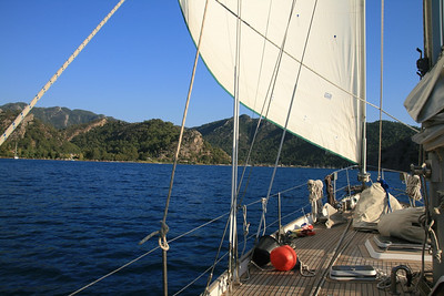 Beautiful sailing into the bay of Orhaniye, Turkish coast.