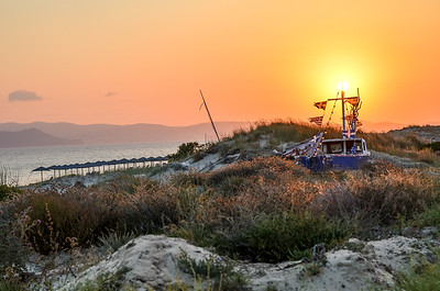 Sunset over fishing boat