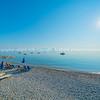 Long stony beach along Mediterranean coats on Peloponnese Pennisula of Greece.