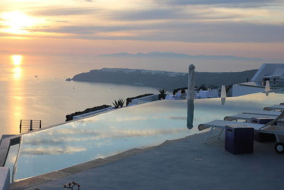 Sunset in Santorini (at a really nice hotel - not ours!)