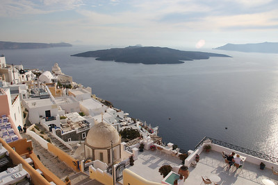 Santorini is the second biggest caldera in the world and in the center is what's left of the ancient volcano.