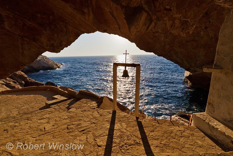 Cave and Church of Agios Stefanos, Island of Syros, Cyclade Islands, Aegean Sea, Greece