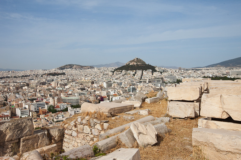 View of Athens and Lycabettus Mt. from the Acropolis, Athens Greece