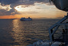 Sunset, Cruise Ship, Costa Allergra, Taken from Ferry Headed for Syros, Aegean Sea, South of Athens, Greece