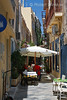 Alleyway, Cafe, City of Ermoupolis also spelled Hermopolis, Capital of the Aegean Sea, Cyclades Islands, Island of Syros, Greece