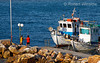 No MR, Two Boys Fishing, Boats, Harbor and Beach, Galissas, Island of Syros, Aegean Sea, Cyclade Islands, Greece