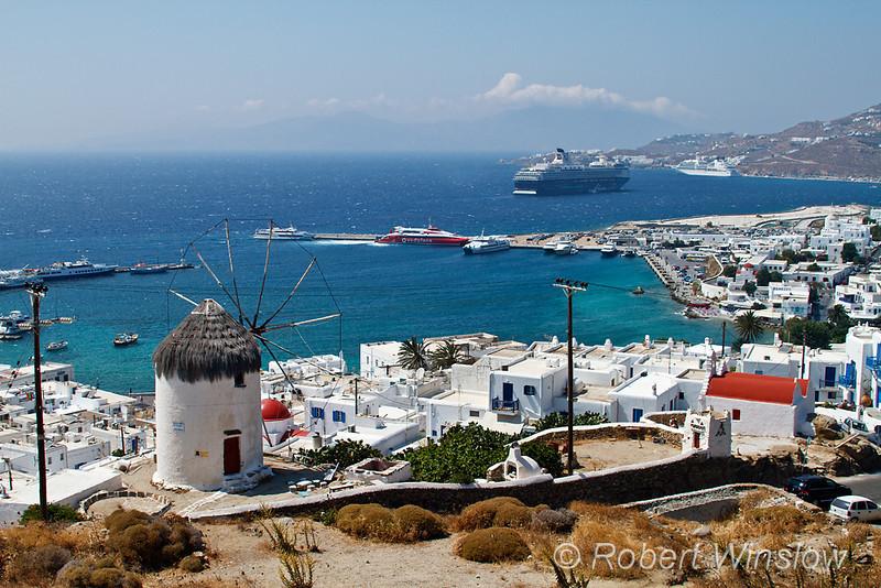 Windmill, Island of Mykonos, Cyclade Islands, Aegean Sea, Greece