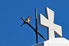 Sparrow on Church Cross,  Galassis, Island of Syros, Aegean Sea, Cyclade Islands, Greece