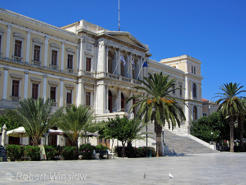 Town Hall and Miaouli Square, City of Ermoupolis also spelled Hermopolis, Capital of the Aegean Sea, Cyclades Islands, Island of Syros, Greece
