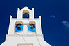 Church bells with Moon and Blue Dome, Santorini, Greece