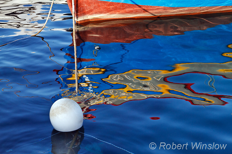 Detail of Boat in the Water and its Reflection, Galissas, Island of Syros, Cyclade Islands, Aegean Sea, Greece