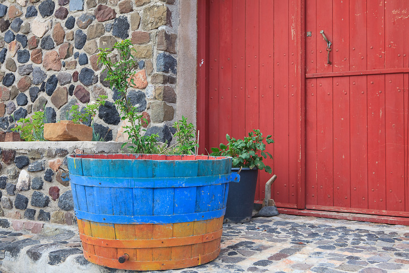 Winery door and Barrel, Santorini, Greece